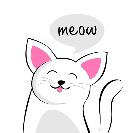 meow: Cute cartoon cat with speech bubble saying Meow Illustration