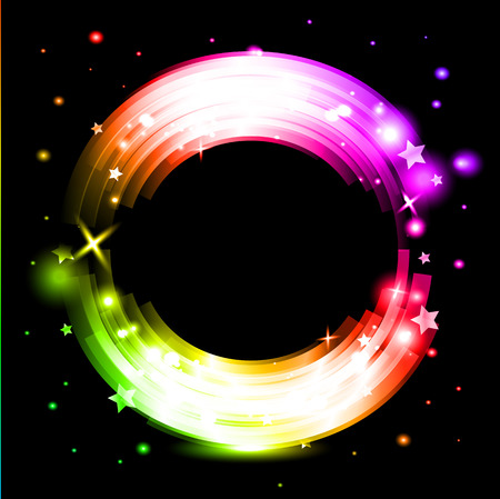 Abstract background with glowing rainbow circle vector illustration