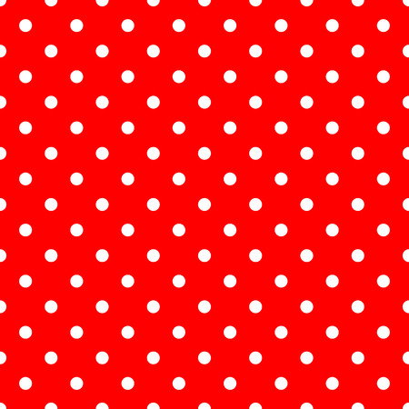 White Polka Dots on Red Background Seamless Pattern