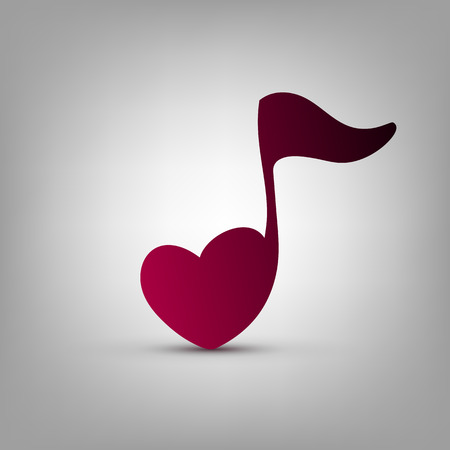 notes music: Musical note heart shape vector logo design template