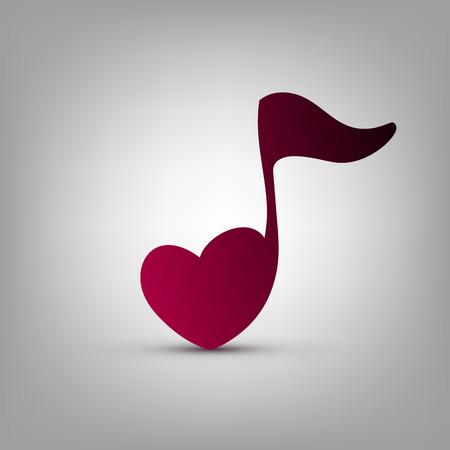 nota musical: Nota la forma del corazón del vector plantilla de diseño del logotipo Musical