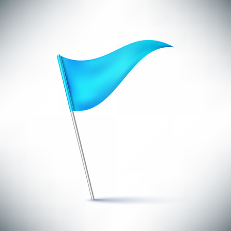 flagpole: Waving blue flag on flagpole vector illustration