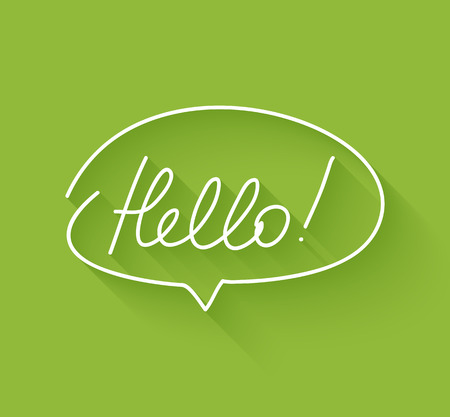 hello: hand drawn speech bubble with hello greeting