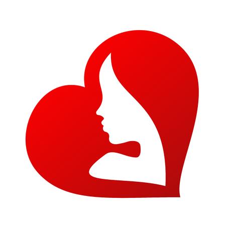 siluetas mujeres: Mujer silueta de la cara interior de una forma de corazón aislado en el fondo blanco Vectores