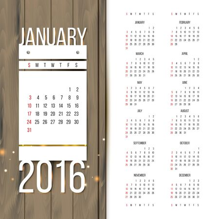 preview: Calendar 2016 with January preview. Week starts on Sunday.