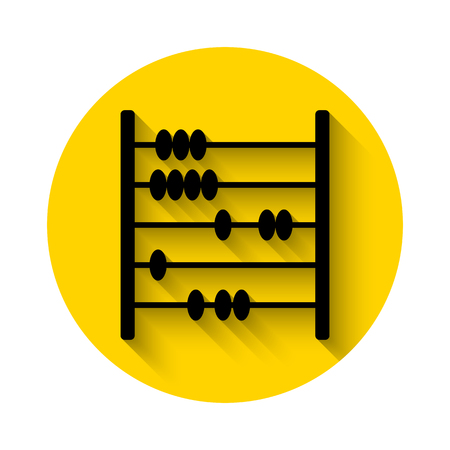 primitive tools: abacus flat icon with long shadow isolated on yellow background Illustration