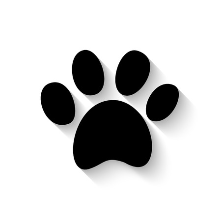 paw print icon with shadow isolated on white background