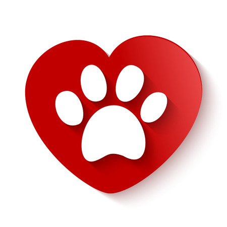 paw print with shadow over heart shaped background