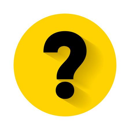 Vraagteken met schaduw geïsoleerd op een gele achtergrond