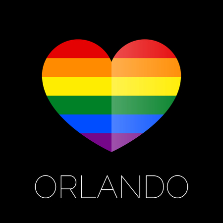 Orlando tragedy. Gay colors heart shape on black background. Mourning. 12 June 2016.