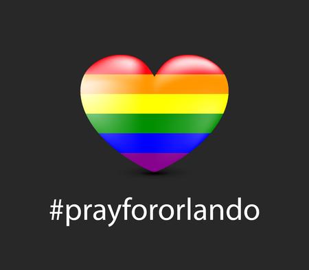 massacre: Gay colors heart shape on dark background. Mourning. 12 June 2016.
