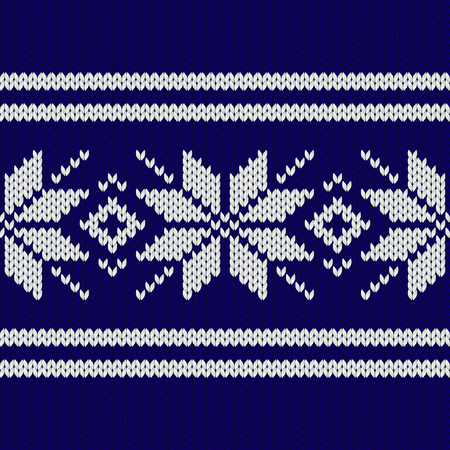Dark blue nordic knitted seamless pattern vector illustration