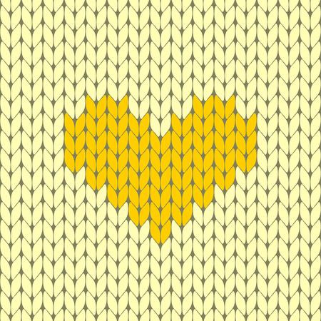 Knitted heart seamless pattern vector illustration