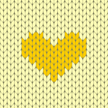 Knitted heart seamless pattern vector illustration