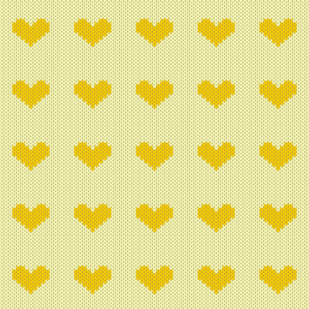 Yellow knitted hearts seamless pattern vector illustration