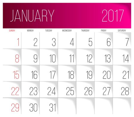 Calendar 2017 vector design template. January. Week Starts on Sunday.