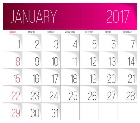 Calendar 2017 vector design template. January. Week Starts on Sunday.