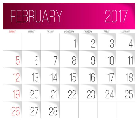 Calendar 2017 vector design template. February. Week Starts on Sunday. Illustration