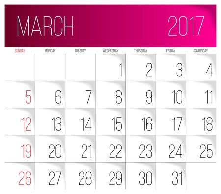 Calendar 2017 vector design template. March. Week Starts on Sunday.