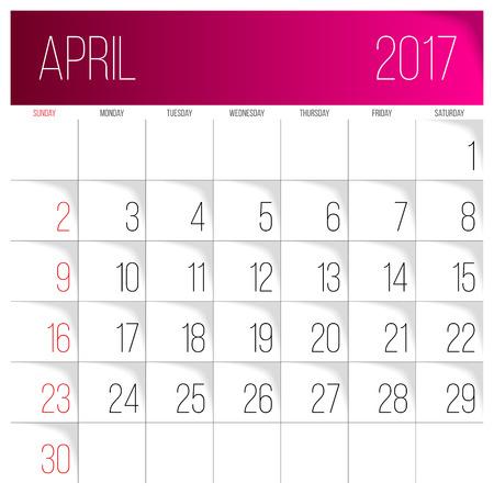 Calendar 2017 vector design template. April. Week Starts on Sunday. Vettoriali
