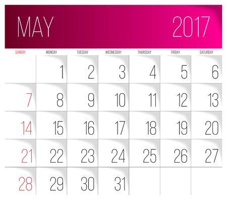 Calendar 2017 vector design template. May. Week Starts on Sunday.