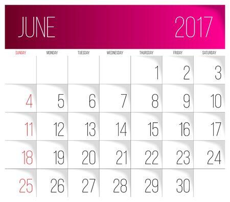 Calendar 2017 vector design template. June. Week Starts on Sunday.