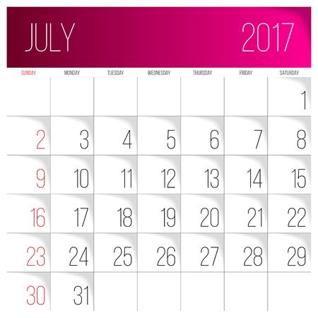 Calendar 2017 vector design template. July. Week Starts on Sunday.