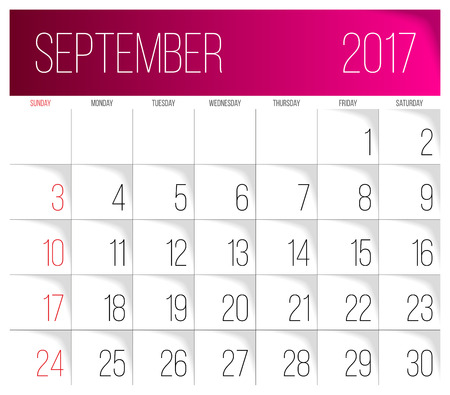 Calendar 2017 vector design template. September. Week Starts on Sunday. Vettoriali