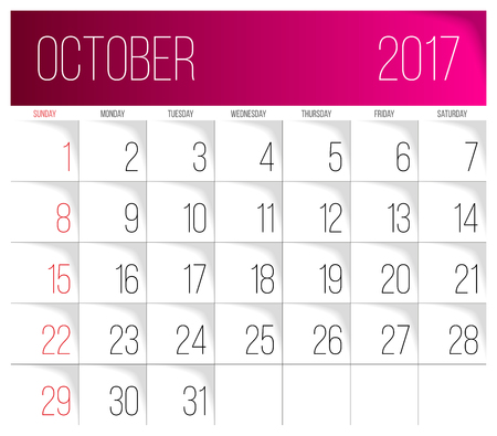 Calendar 2017 vector design template. October. Week Starts on Sunday. Vettoriali