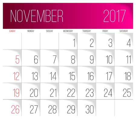 Calendar 2017 vector design template. November. Week Starts on Sunday. Illustration