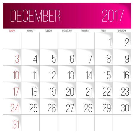 Calendar 2017 vector design template. December. Week Starts on Sunday. Vettoriali