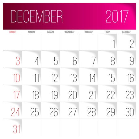 Calendar 2017 vector design template. December. Week Starts on Sunday. Illustration