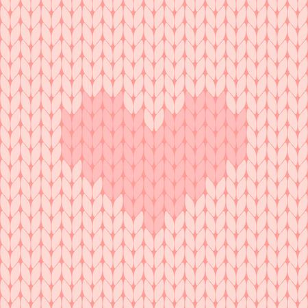 pink knitted heart seamless pattern vector illustration Vettoriali