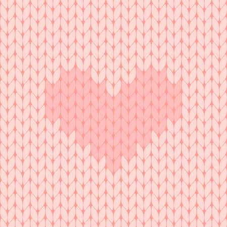 pink knitted heart seamless pattern vector illustration Illustration