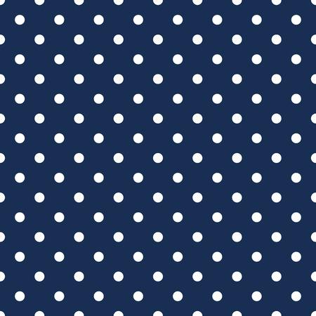 White polka dots on navy blue background seamless pattern Vettoriali
