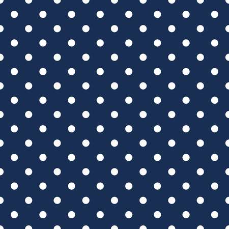 White polka dots on navy blue background seamless pattern Illustration