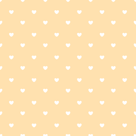 white hearts on peach color background seamless pattern Illustration