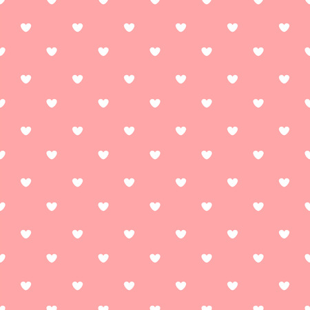 white hearts on pink background seamless pattern Illustration