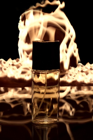 reverb: a bottle of aroma on the fire background