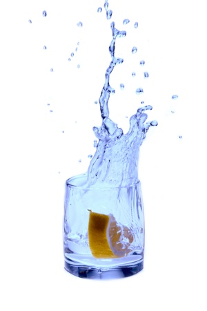 a splash of water and a lemon photo