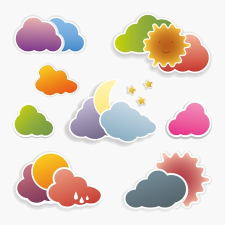 Collection of brightly colored weather icons