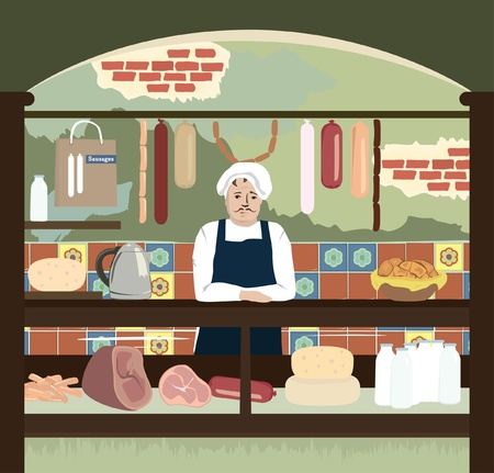vendors: vector illustration of retro shop with meat and cheese assortment Illustration