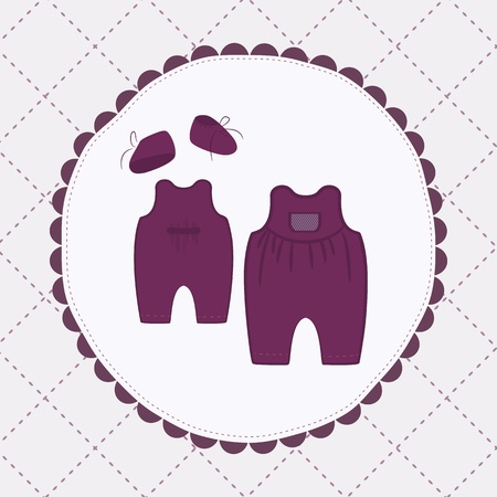 rompers: cute purple cloths for baby. Vector illustration