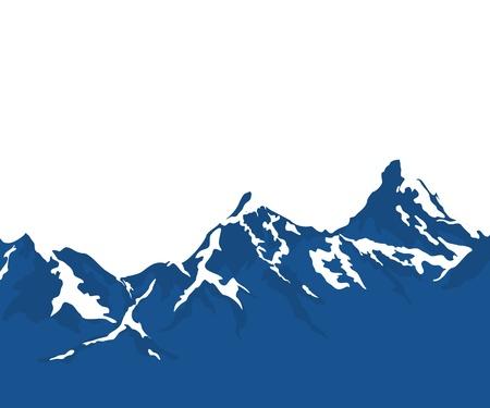montagnes enneigées isolé sur fond blanc
