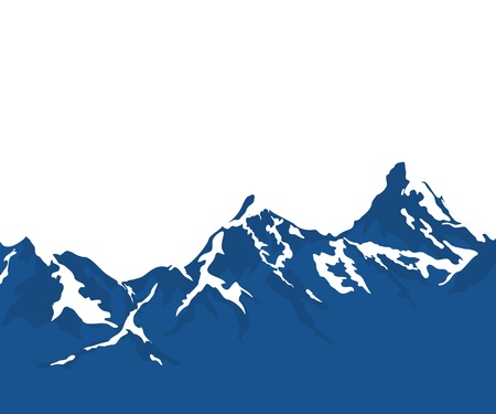 climbing mountain: snow capped mountains isolated on white background