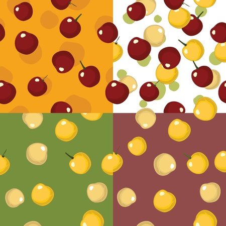 Seamless cherry pattern set for fabric and wallpaper.