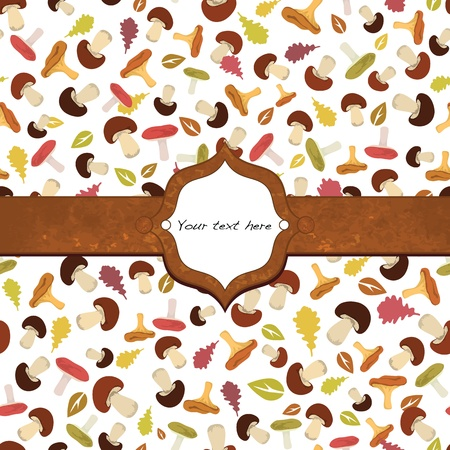 Autumn design card with decorative frame. Vector illustration Illustration