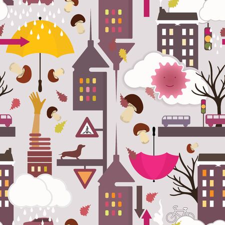 Cute autumn city background. Rainy day in city - funny seamless pattern for kids