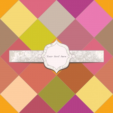 Colorful plaid background with textured frame illustration
