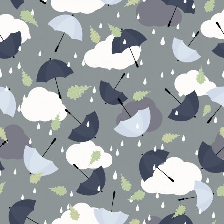 Seamless pattern with clouds, raindrops and umbrellas